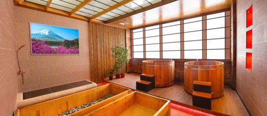 Японская баня Офуро, Фурако, мужское отделение, 2 этаж, Баня С легким паром!